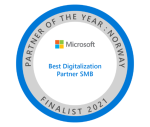 "Finalist i kategorien ""Beste digitaliseringspartner SMB"" hos Microsoft."